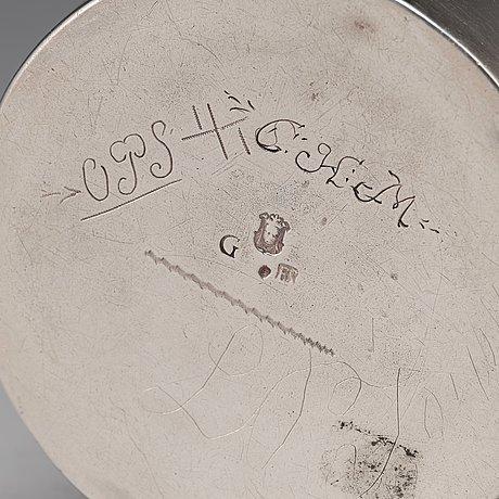 A swedish 17th century parcel-gilt silver beaker, mark of erik bengtsson starin, stockholm 1695.