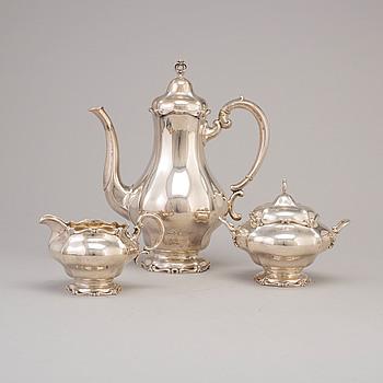 KAFFESERVIS, tre delar, silver, svenska importstämplar, 1900-talets förta hälft.