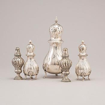 RUSKOR, fem st olika, silver, 1900-talets första hälft.