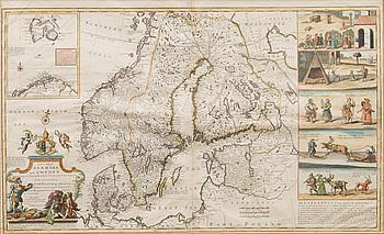 KARTA,handkolorerat kopparstick,  Skandinavia och 5 illustrationer av lapparna, H. Moll London 1715.