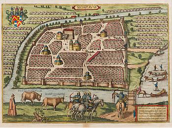 KARTA, handkolorerat kopparstick, Moskva, Braus & Hogenberg, ca 1590.
