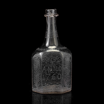 FLASKA, glas,  Skånska Glasbruket, Henrikstorp, daterad ANNO 1760,