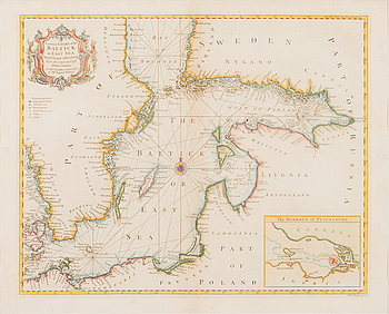 SJÖKORT, handkolorerat kopparstick, Nicholas Tindal (1687-1774) & Paul de Rapin (1661-1725), London cirka 1760.