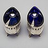 A pair of english 18th century silver and blue glass salts, mark of john robert probably, london.