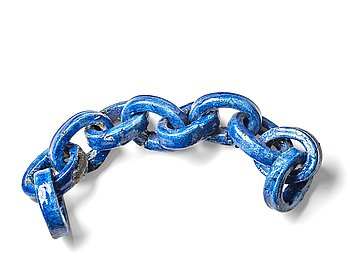 91. Hertha Hillfon, a blue glazed ceramic sculpture of a chain, Sweden.