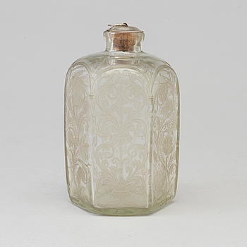 A baroque glass bottle, first half of the 18th century.