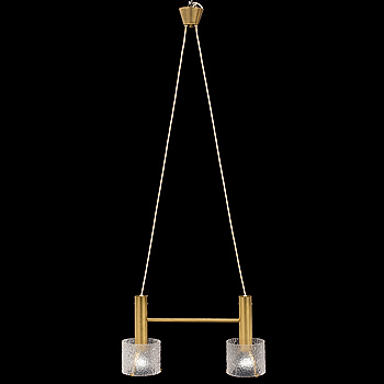 A brass and glass ceiling light.
