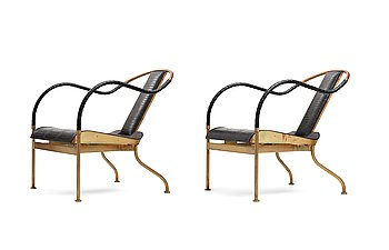 """12. Mats Theselius, a pair of """"el Rey"""" easy chairs by Källemo, Sweden, post 1999."""