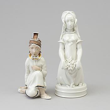 Two Arno Malinowski porcelain figurines, for Royal Copenhagen, Denmark, 1940s.
