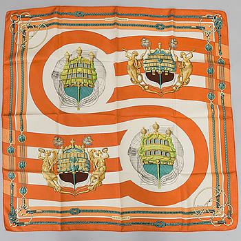 "SCARF, Hermès, ""Chateau D'Arrière orange"", issued 1974."
