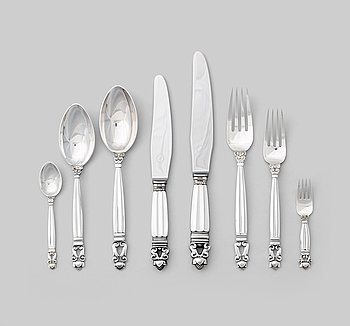 "125. Johan Rohde, a set of 85 pieces of ""Acorn"" flatware, Georg Jensen, Copenhagen 1925-1975, silver and stainless steel."