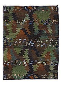"304. Barbro Nilsson, MATTO, ""Tånga brun och grön"", flat weave, ca 228 x 169,5 cm, signed AB MMF BN."