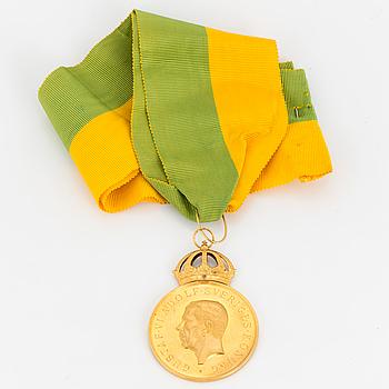 GULDMEDALJ, 18K, från Kungliga Patriotiska Sällskapet, 1953.