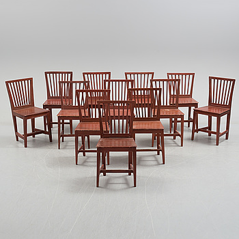"GUSTAVIANSK, Twelve Swedish ""Leksand model"" Gustavian chairs, first half of the 19th century."