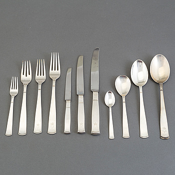 """JACOB ÄNGMAN, bestick, 171 delar, silver, GAB, """"Rosenholm"""", 1900-talets andra hälft."""