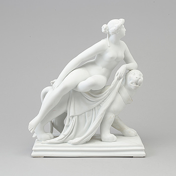 A bisquit figure of 'Ariadne', Dressel Kister & Co., Passau, Germany, late 19th century.