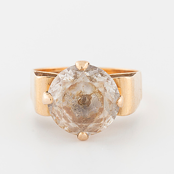 A faceted rock crystal ring by Folke Svärd, Köping, 1970.