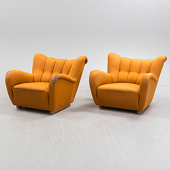 GUSTAF AXEL BERG, GUSTAF AXEL BERG, possibly. A pair of Swedish Modern easy chairs, 1940's.