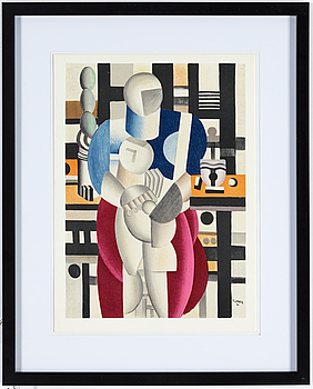 FERNAND LÉGER, FERNAND LÉGER, after, colour lithographe, signed in print and dated 31, from Derrière le Miroir nr 79-80-81 1955.
