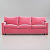 Josef frank, a pink velvet upholstered three seated sofa, svenskt tenn, model 3031.