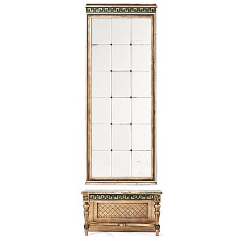 284. SWEDISH GRACE, a mirror and console table, 1920's.