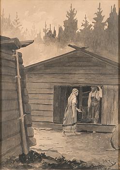 SIGFRID AUGUST KEINÄNEN, ink wash, signed.