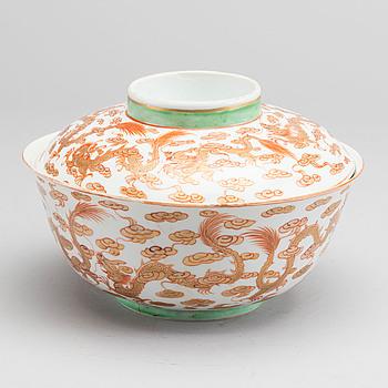 SKÅL med lock, Kina sen Qing sent 1800-tal porslin.