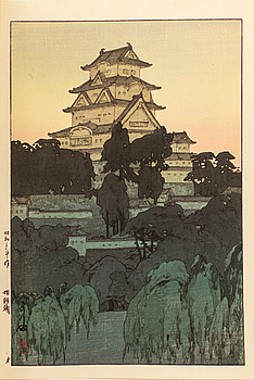 KRÖNINGSBOK, med ett originalfärgträsnitt av Hiroshi Yoshida, Tokyo 1928.
