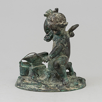 SKULPTUR, patinerad brons, omkring 1900.