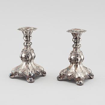 LJUSSTAKAR, ett par, silver, GAB, 1948.