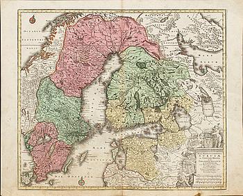 """TOBIAS CONRAD LOTTER, handkolorerad kopparstick, karta. """"SUECIAE"""" ur Novus Atlas 1770."""