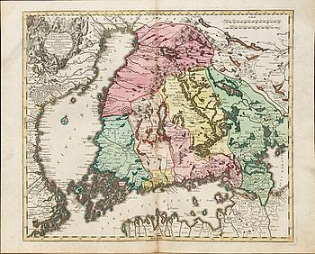 """TOBIAS CONRAD LOTTER, handkolorerad kopparstick, karta. """"Finlandia"""" ur Novus Atlas 1770."""