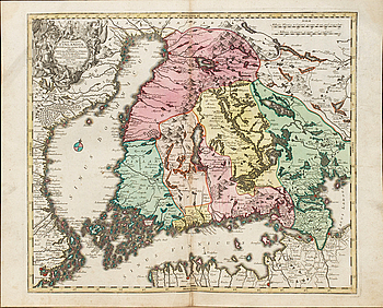 "TOBIAS CONRAD LOTTER, hand colored copper engraving . ""Finlandia"" from  Novus Atlas 1770."