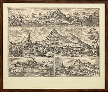 """A BRAUN & HOGENBERG COPPER ENGRAVING La Penna de los Enamorados Archidona"""" ca 1612."""