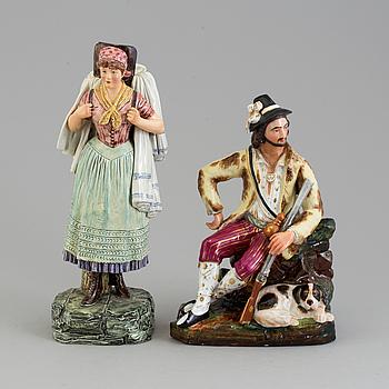 FIGURER, två stycken, porslin. Tyskland, sent 1800-tal.