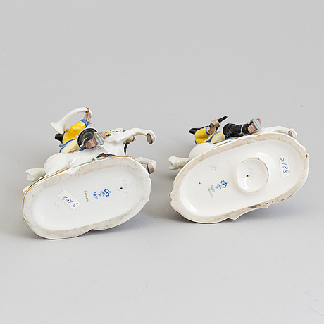 "Two german nymphenburg figurines from the series 'kleine gelbe frankenthaler jakt"", 1950's."