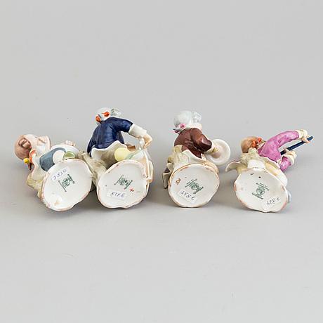 Figuriner, fyra stycken, porslin. tyskland, hutschenreuter 1950/60-tal.