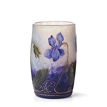 23. A Daum Art Nouveau enamel painted cameo glass vase, France.