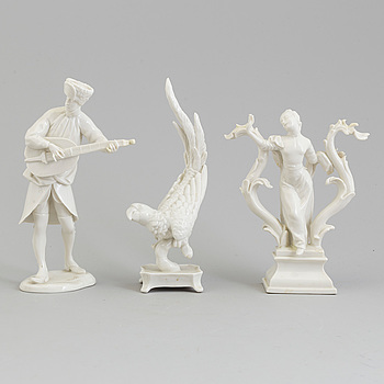 Three white glazed Nymphenburg figurines, 20th Century.