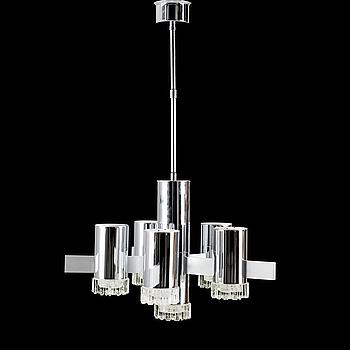 A Gaetano Sciolari six light 'Geometric series' chandelier, Italy 1970's.
