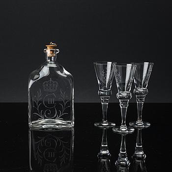 """SNAPSGLAS, 5+1 st, """"Gustav III"""", Reijmyre Glasbruk, 1900-talets andra hälft."""
