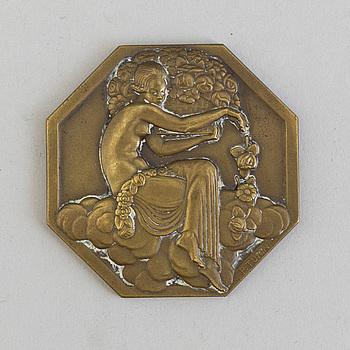 ART DÉCO, PIERRE TURIN, a bronze medal from the World Fair in Paris, 1925.