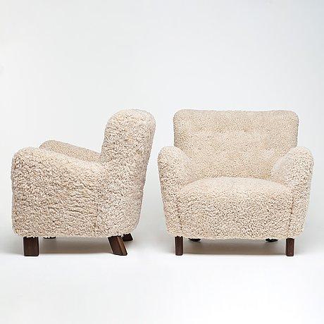 "Fritz hansen, a pair of ""1669"" easy chairs, fritz hansen denmark 1940´s."