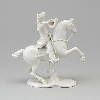 A white glazed Nymphenburg porcelain figure of a huntsman, Germany 20th Century.