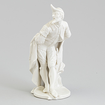 A white glazed figure of pantalone, Nymphenburg, Germany, 20th Century.