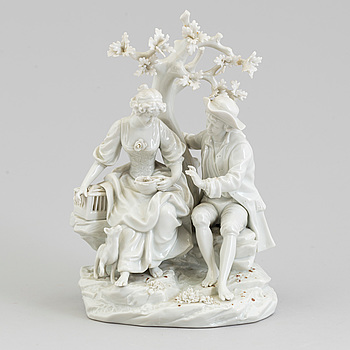 A white glazed porcelain figure, unknown manufactory, 20th Century.