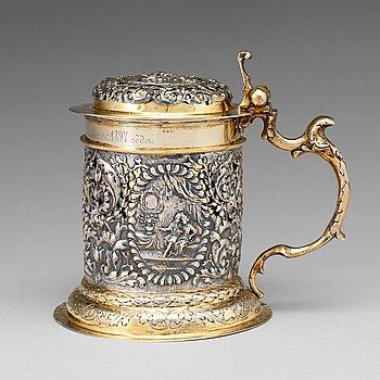 119. Israel Thelott, dryckeskanna, silver, Augsburg (verksam 1654-1696), barock.