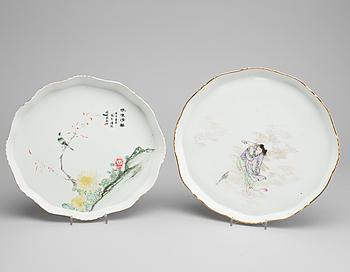BRICKOR, porslin, 2 st, Kina, 1900-tal.
