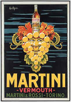 JAN MARCO, litografisk affisch, Martini Vermouth, Tipografia Teatrale Torinese, Turin, Italien, 1950-tal.