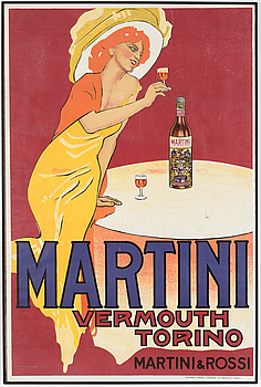 LITOGRAFISK AFFISCH, Martini Vermouth, Tipografia Teatrale Torinese, Turin, Italien, 1950-tal.